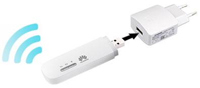 Подключение 4G модема к источнику питания через сетевой адаптер