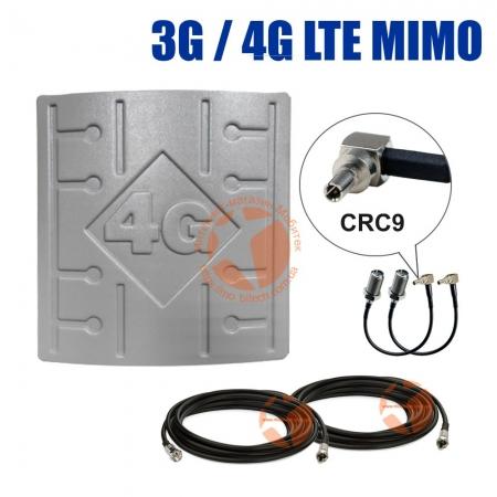 Комплект усиления сигнала: 3G/4G LTE MIMO антенна RunBit 2 x 18 dBi + коаксиальный кабель RG58 + антенные переходники CRC9