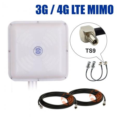 Комплект усиления сигнала: 3G/4G LTE антенна Energy MIMO 2 x 15 dBi + коаксиальный кабель RG58 + антенные переходники TS9