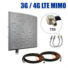 Комплект усиления сигнала: 3G/4G LTE MIMO антенна Сарма Плюс 2 x 19 dBi + коаксиальный кабель RG58 + антенные переходники TS9