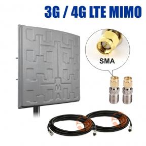 Комплект усиления сигнала: 3G/4G LTE MIMO антенна Сарма Плюс 2 x 19 dBi + коаксиальный кабель RG58 + антенные переходники SMA