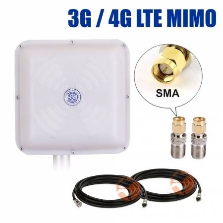 Комплект усиления сигнала: 3G/4G LTE антенна Energy MIMO 2 x 15 dBi + коаксиальный кабель RG58 + антенные переходники SMA