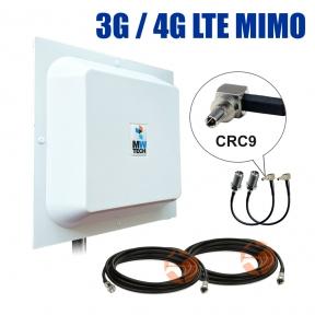 Комплект усиления сигнала: 3G/4G LTE MIMO антенна R-Net Квадрат 2 x 15 dBi + коаксиальный кабель RG58 + антенные переходники CRC9
