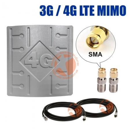 Комплект усиления сигнала: 3G/4G LTE MIMO антенна RunBit 2 x 18 dBi + коаксиальный кабель RG58 + антенные переходники SMA