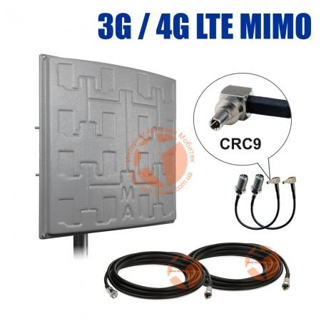Комплект усиления сигнала: 3G/4G LTE MIMO антенна Сарма Плюс 2 x 19 dBi + коаксиальный кабель RG58 + антенные переходники CRC9